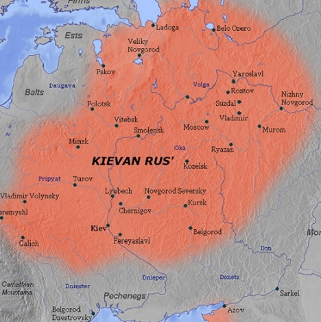 Map of Kievan Rus in the 11th Century