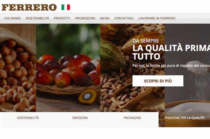 Ferrero, l'home page del sito ufficiale