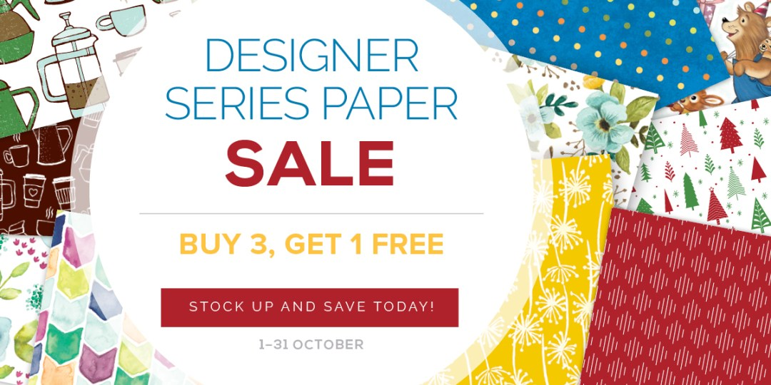 Designer Series Paper Sale - Shop with Leonie Schroder Independent Stampin' Up! Demonstrator Australia for your free pack of paper in October