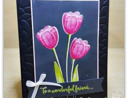 Black Emboss Resist Tranquil Tulips by Leonie Schroder Independent Stampin Up Demonstrator Australia