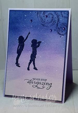 Brayered Night SKy using Stargazing and Silhouette Scenes by Leonie Schroder Independent Stampin' Up! Demonstrator Australia