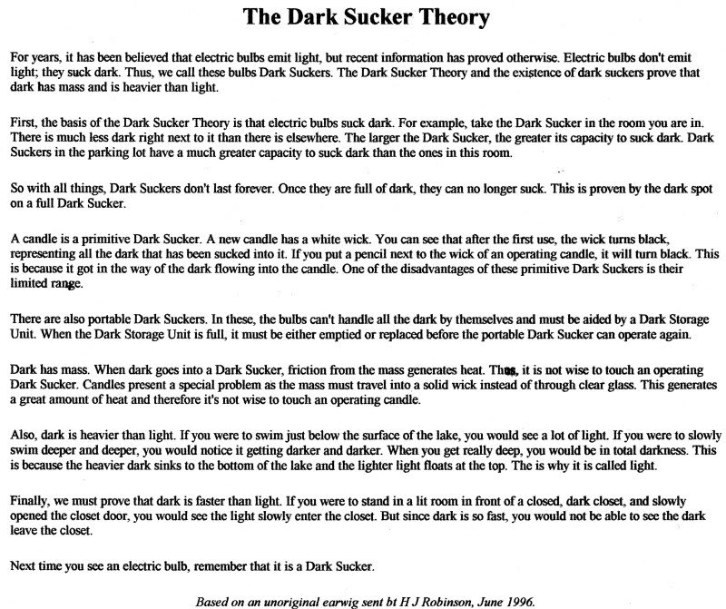 Dark Sucker Theory