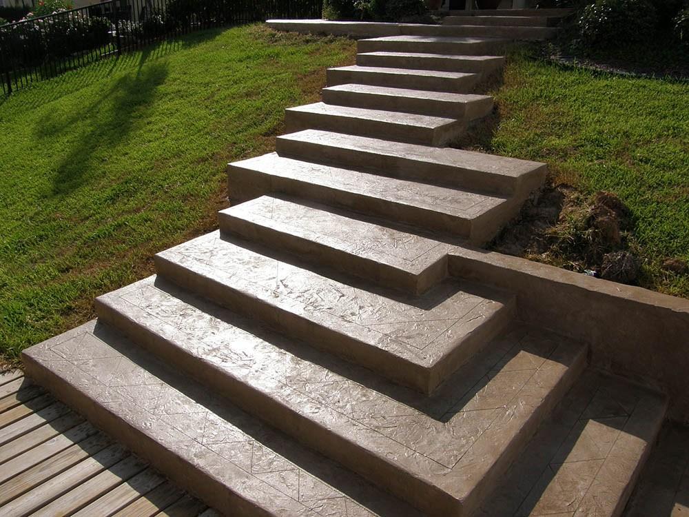 Consider Concrete Steps Instead Of Wood Stamped Artistry | Wood Deck Over Concrete Steps | Extension | Front | Back Deck | Cover Concrete | Solid Deck