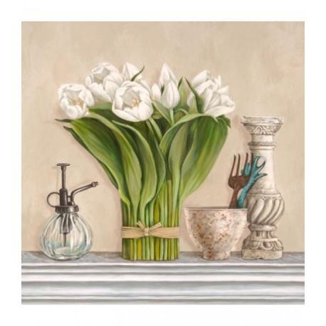 Stampa su Tela Shabby con tulipani bianchi per Soggiorno
