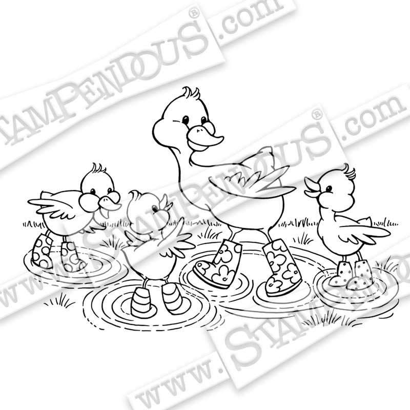 Puddle Ducks Rubber Stamp