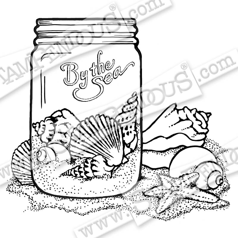 Seashell Jar Rubber Stamp