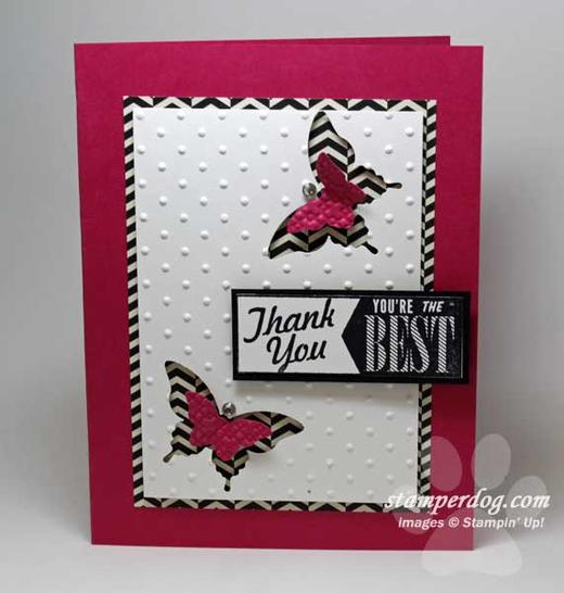 Pink Punch Art Thank You Card Stampin' Up! Demonstrator