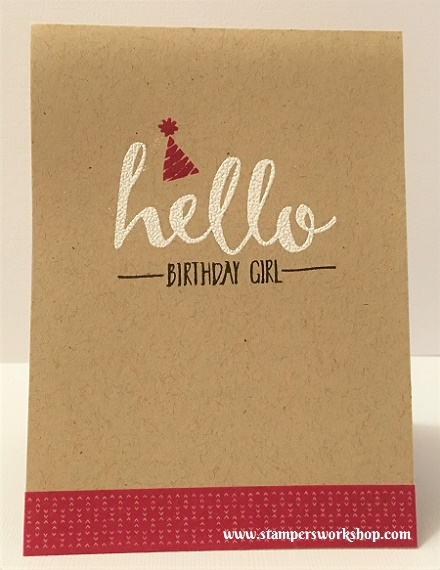 Hello Birthday Girl Materials used: Stamps - Hello (Stampin' Up!), Cardstock - Stampin' Up!l and Washi Tape - It's My Party Designer Washi Tape.