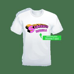 """T-shirt bianca 100% cotone """"Super Mom con nome"""""""