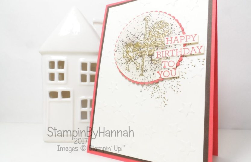 Global Design Project theme challenge using Carousel Birthday from Stampin' Up! to make a quick and easy fun birthday card