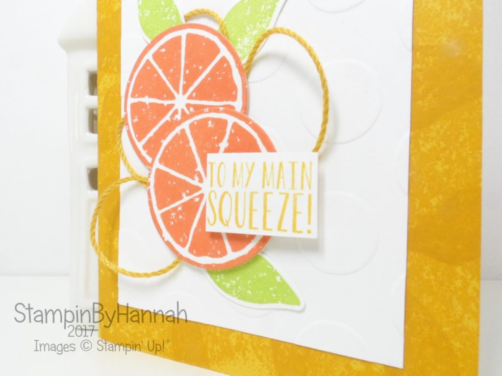Fun Husband Anniversary Card using Lemon Zest and the Lemon Builder Punch from Stampin' Up!