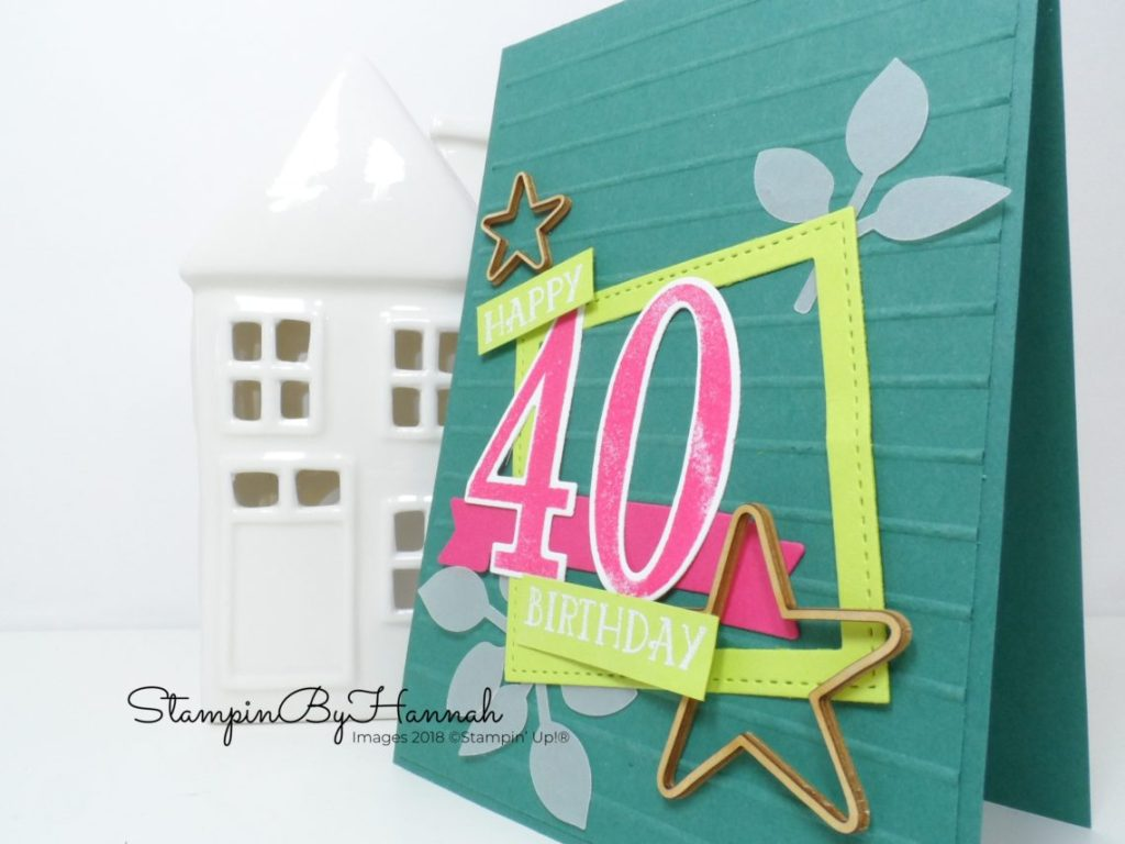 Fun and modern handmade 40th Birthday card using Number of Years from Stampin' Up!