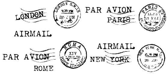 Airmail, clear stamp typewriter font