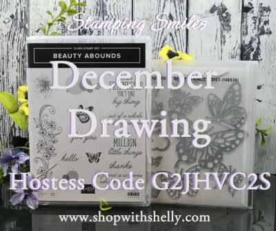 Stamping Smiles December 2018 Drawing for a Stampin' Up! Beauty Abounds Bundle from the 2019 Stampin' Up! Occasions Catalog