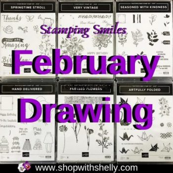 Stamping Smiles February Drawing for the six hostess only stamp sets from the 2018-2019 Stampin' Up! Catalog