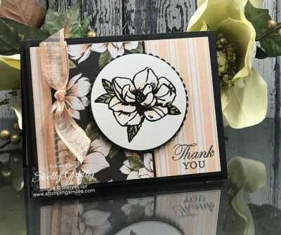 Lovely handmade card made with the Stampin' Up! Magnolia Blooms Stamp Set designed by Shelly Godby of www.stampingsmiles.com