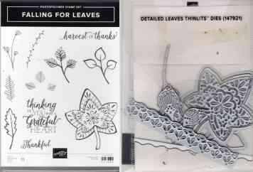Falling Leaves Photopolymer Stamp Set & Detailed Leaves Thinlits Dies $44.00