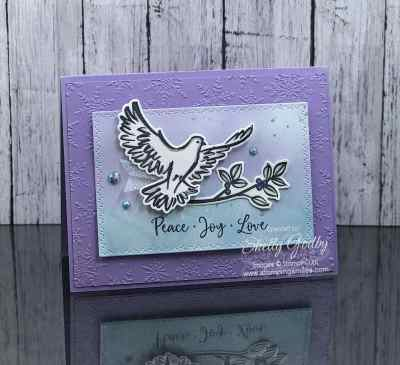 Elegant and easy Stampin' Up! Dove of Hope Christmas card by Shelly Godby