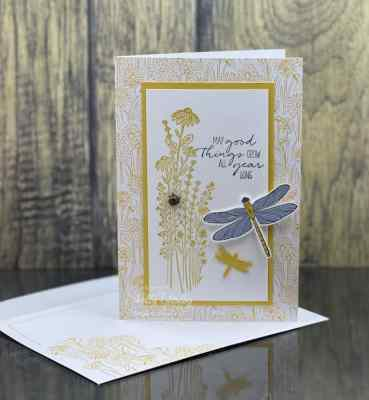 My mostly monochromatic card with the Stampin' Up! Dragonfly Garden Stamp Set