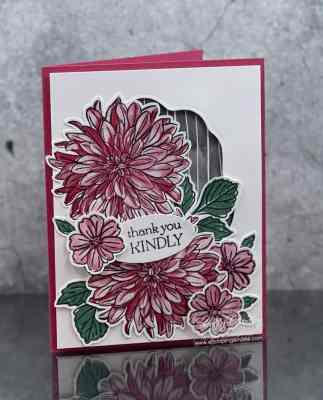 Delightful Stampin' Up! Delicate Dahlias card with two stepped-up versions www.stampingsmiles.com