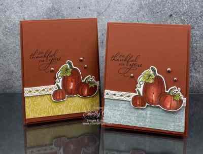 Elegant Handmade Pumpkin Card with Stampin' Up! Pretty Pumpkins Stamp Set www.stampingsmiles.com
