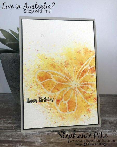 Brusho embossing resist. For more details visit www.stampingwithsteph.com.au