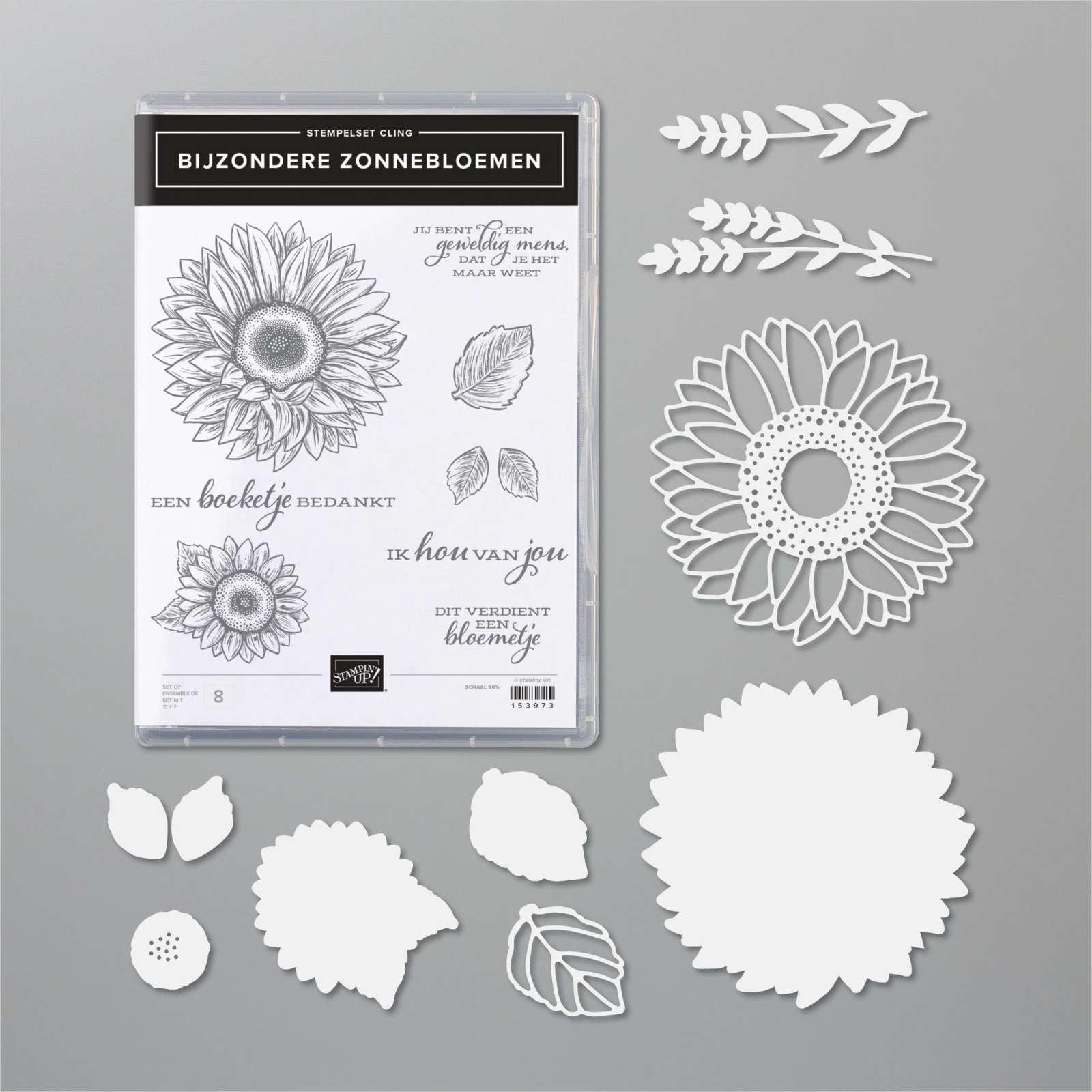bijzondere zonnebloemen, productpakket, stampin up, celebrate sunflowers bundle, stampin treasure