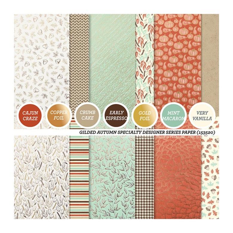Gilded, Autumn, stampin up, stampin treasure, dsp, papier met een design