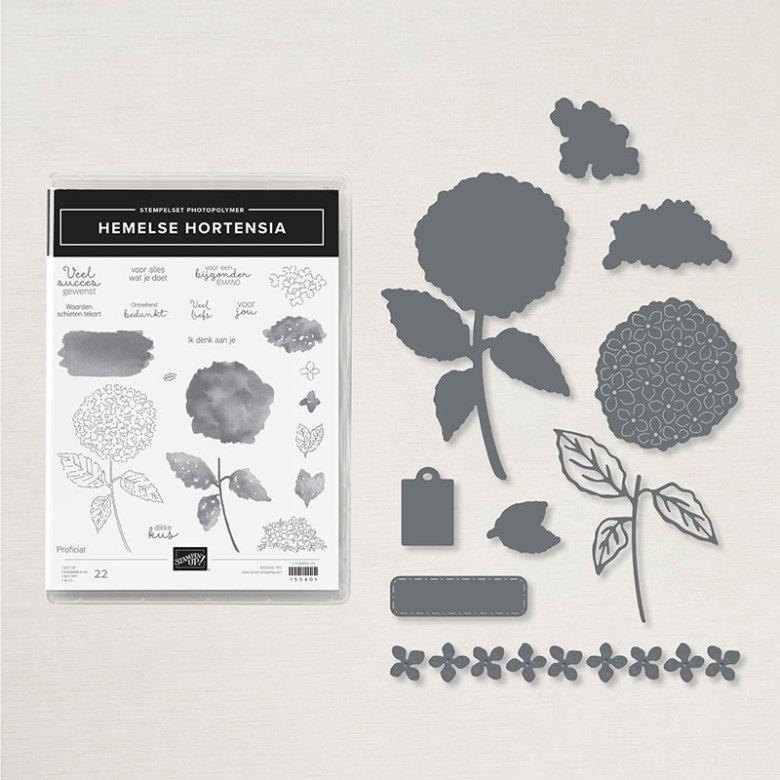 hemelse, hortensia, stampin up, nederlands, stampin treasure, productpakket, bundel, bundle