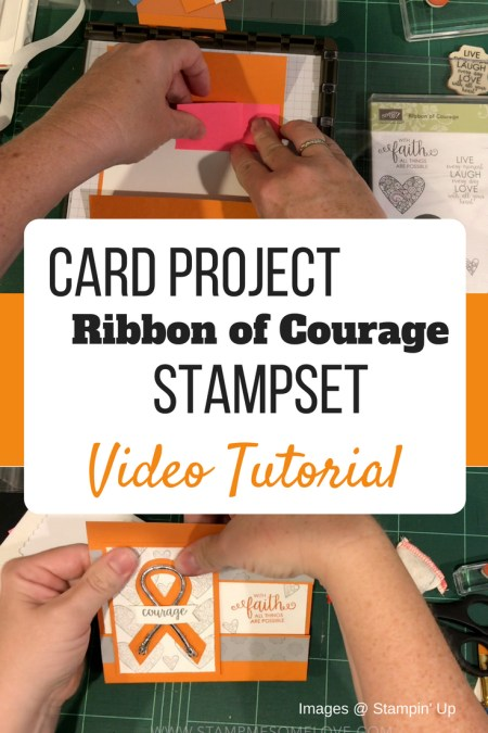 Step by Step video instruction on how to create a flap fold card using the Ribbon of Courage stamp set from Stampin' Up! | card tutorial | video tutorial | cancer card | card for cancer patient | cancer cards ideas