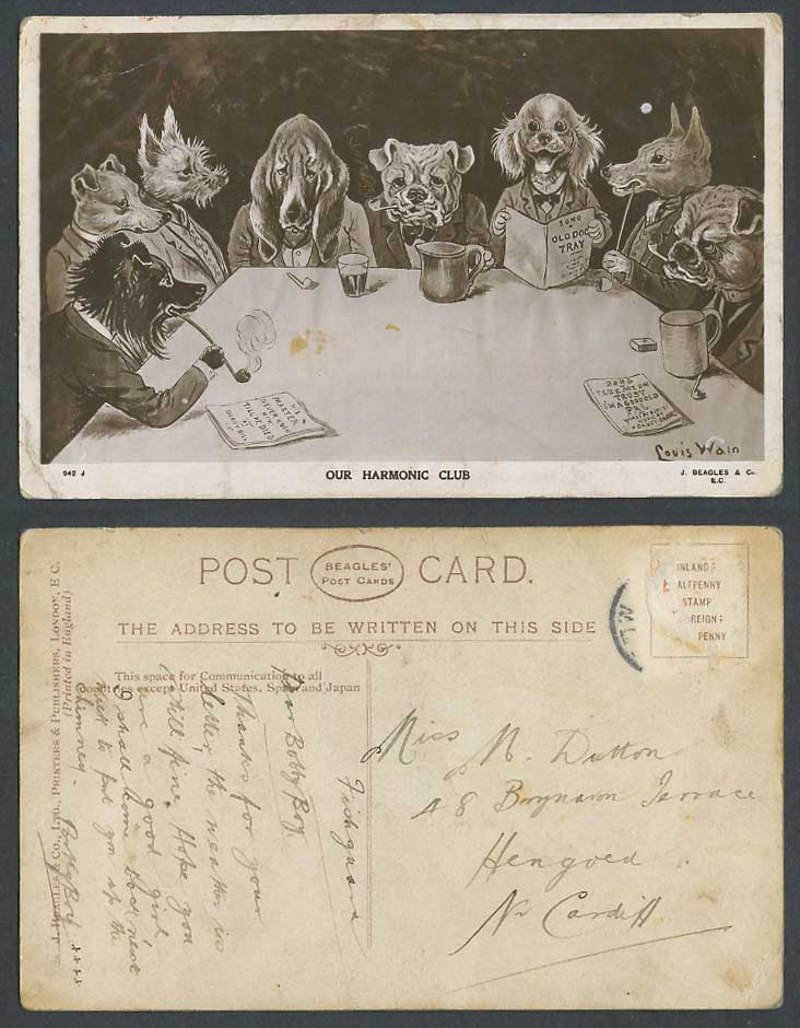 Louis Wain Artist Signed Dogs Puppies Bulldog Dog Our Harmonic Club Old Postcard for Sale