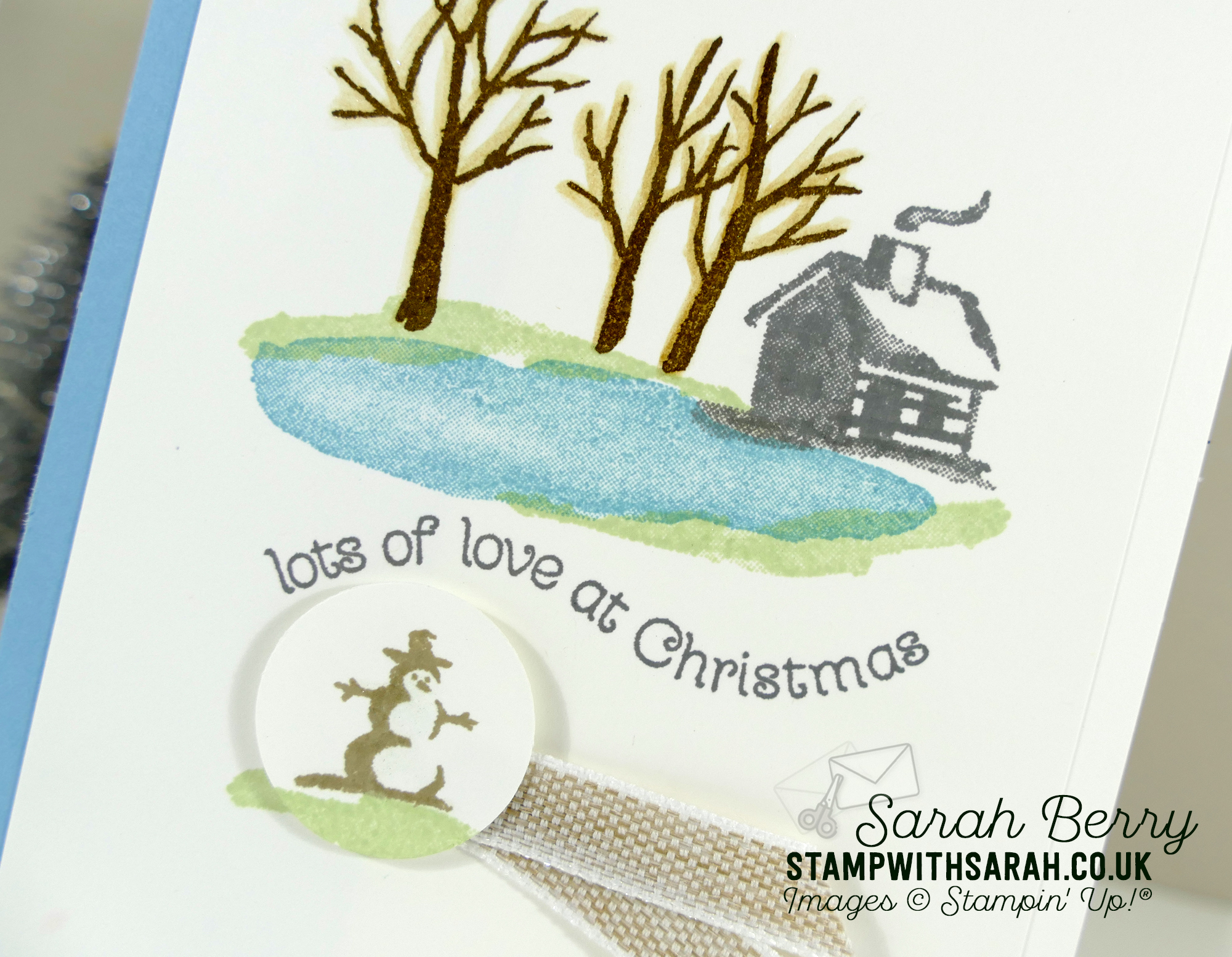 Close up of the Snow Front stamp set meets Itty Bitty Christmas stamp set by Stampin' Up!