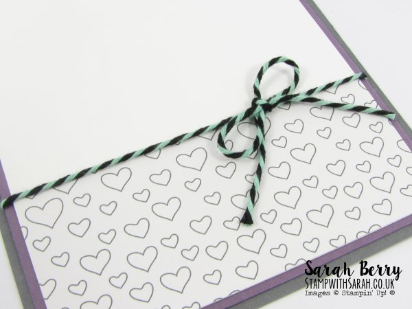 Bakers twine inside of card close up love themed card for #GDP019 by Stampin Up Demonstrator Sarah Berry