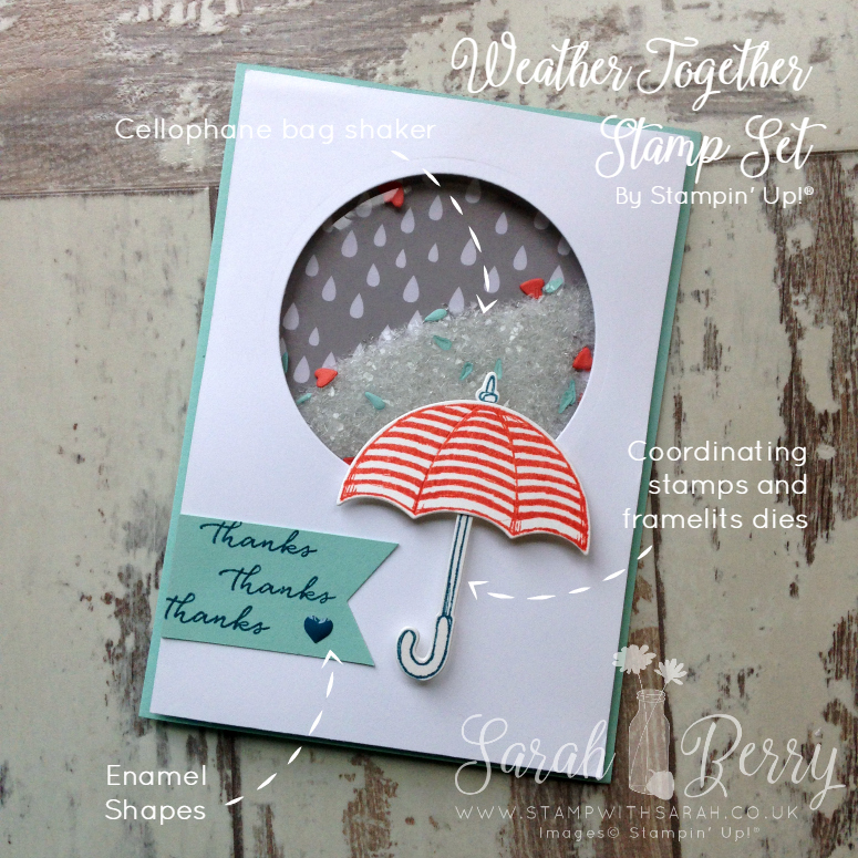 Close up of Weather Together shaker card for Hello! Stampin' Up! Annual Catalogue Week 3, a new hop every Friday!