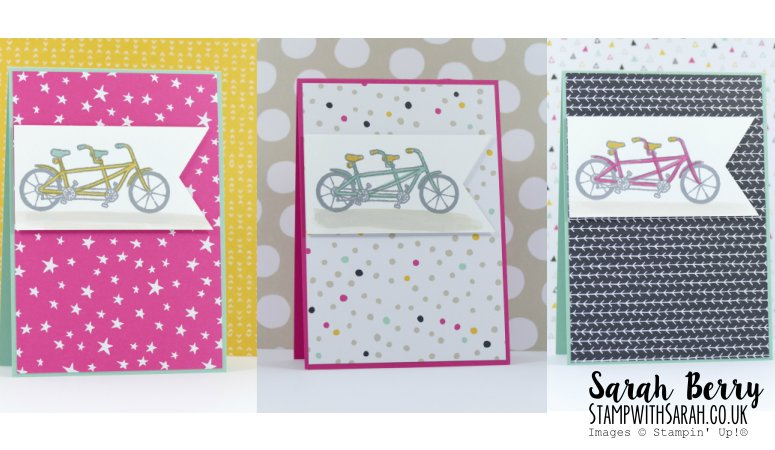 It's My Party paper meets Pedal Pusher stamp set from Sale-A-Bration
