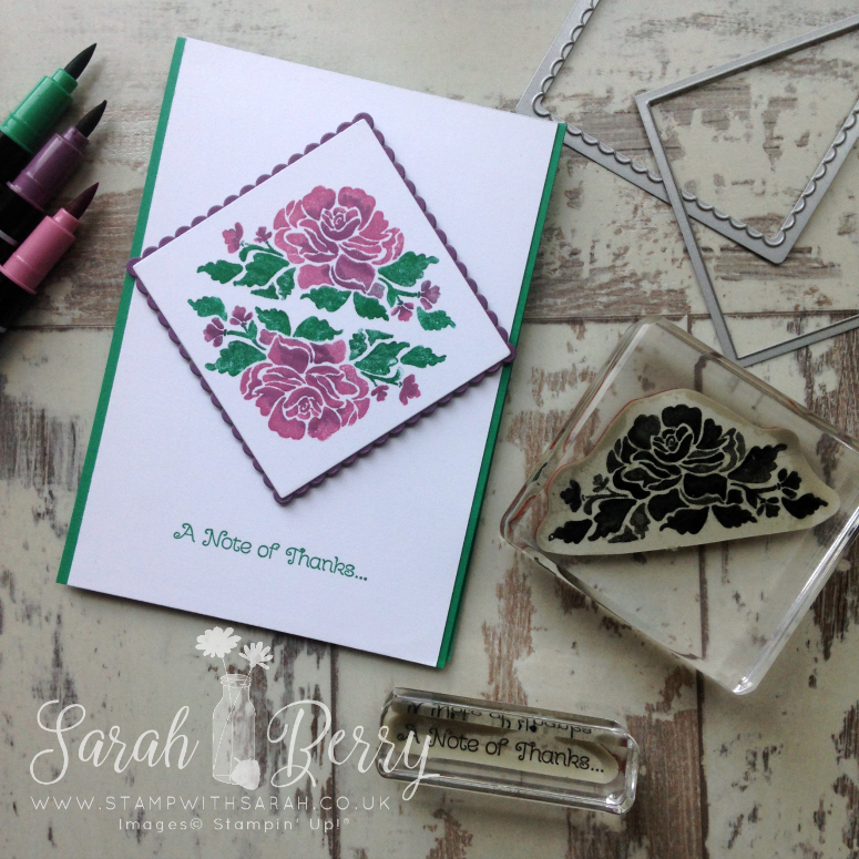Floral Phrases A Note of Thanks card for Hello! Blog Hop #stampwithsarah