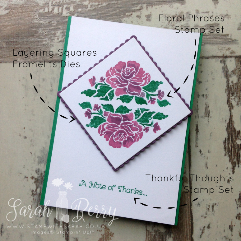 Floral Phrases Note of thanks card #stampwithsarah