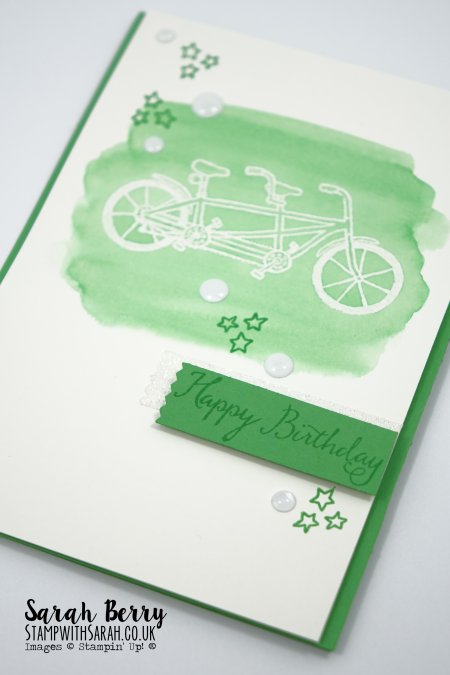 Happy Birthday bike card featuring Pedal Pusher stamp set for Sale-A-Bration 2016 International Blog Hop #stampinup #stampwithsarah #internationalSABblogHopFeb