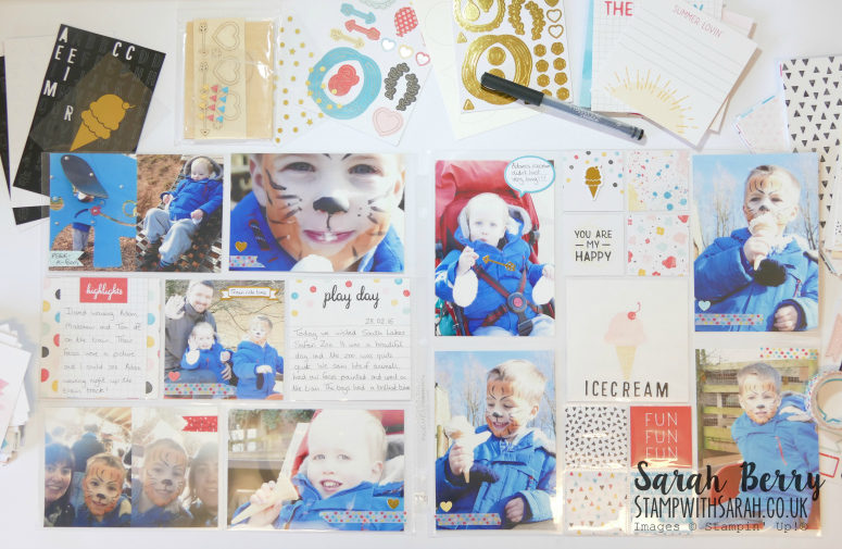 Memories in the Making Project Life International Blog Hop double page #stampwithsarah #stampinup #internationalblogHopApril #memorykeeping