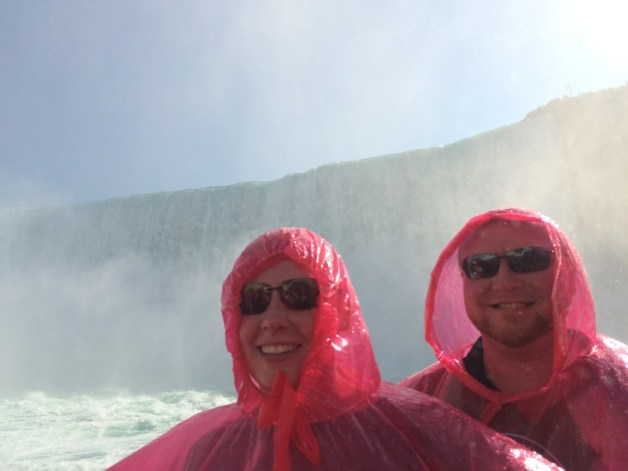 On a boat right up by the Canadian Niagara Falls