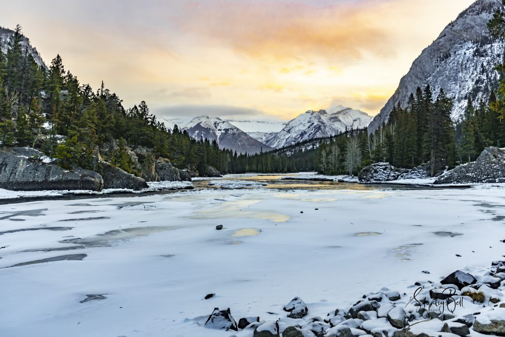 December Sunrise on the Bow River in Banff