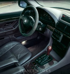 inside the car sports an oem lavendergrau purple interior with 750il leather trimmings and accessories as well as an e46 m3 alcantara sport steering  [ 1200 x 800 Pixel ]