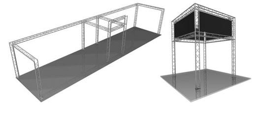 Stands auto-portants offrant des possibilités diverses en taille et forme. Possibilité de création d'un espace privatif de stockage, cabine d'essayage...
