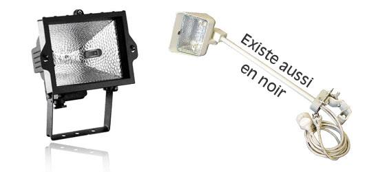 Projecteurs quartz : température de couleur élevée.