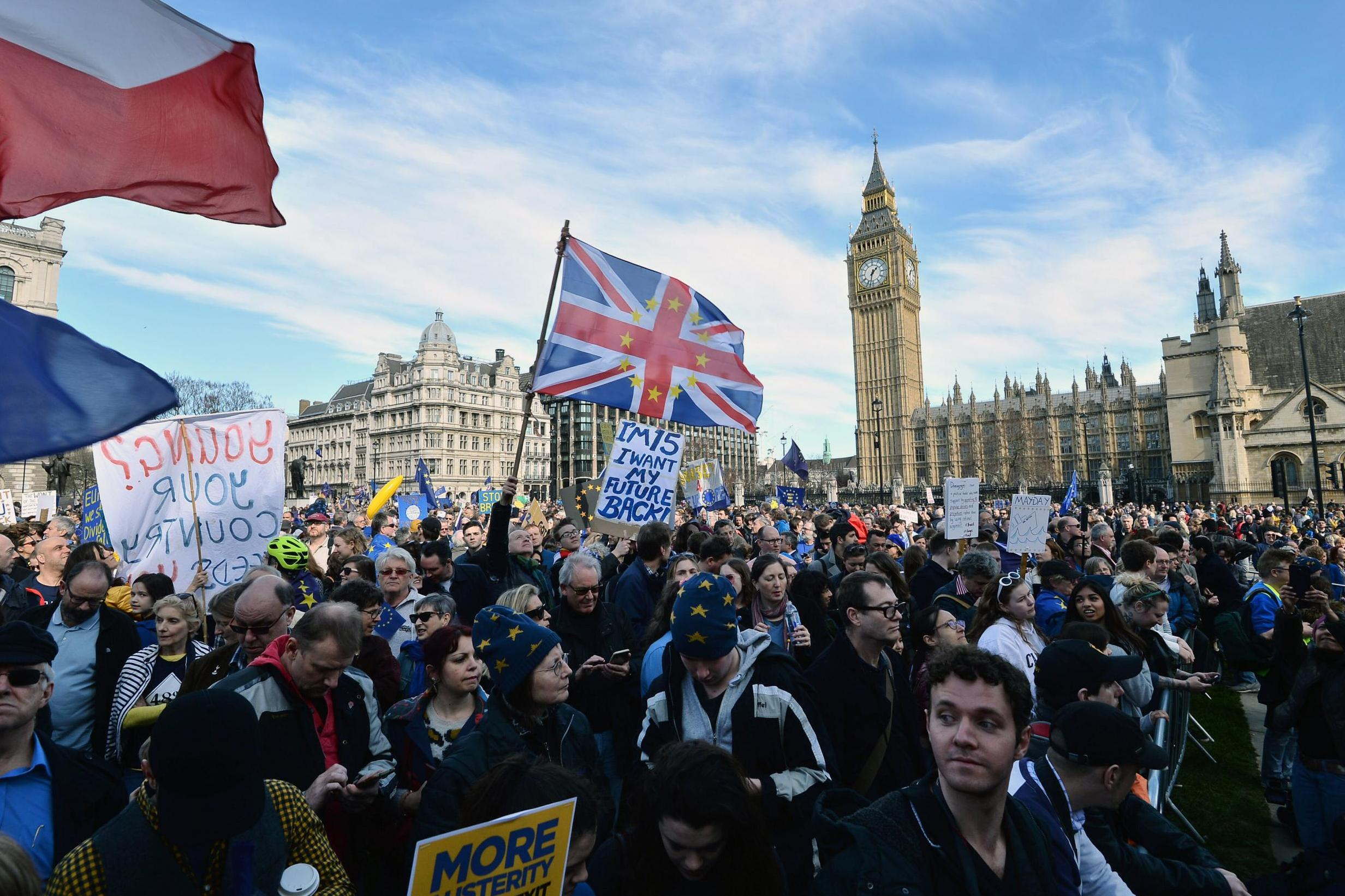 Unite For Europe March Anti Brexit Protesters Hold