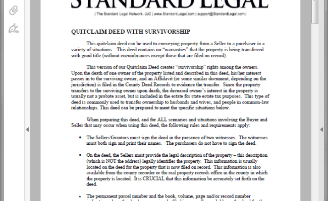 Quitclaim Deed Legal Forms Software Standard Legal