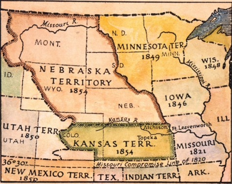 KANSAS-NEBRASKA MAP, 1854. The Kansas and Nebraska territories as they appeared in an 1854 American map.