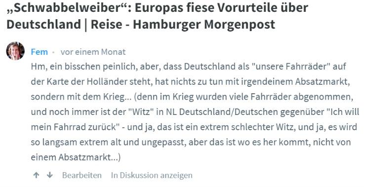 Fem bemoeit zich er even tegenaan - Standort Hamburg