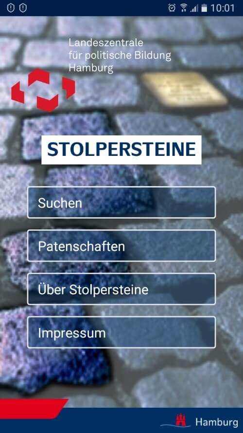 Overzicht van de Stolpersteine in Hamburg in de Stolpersteine app