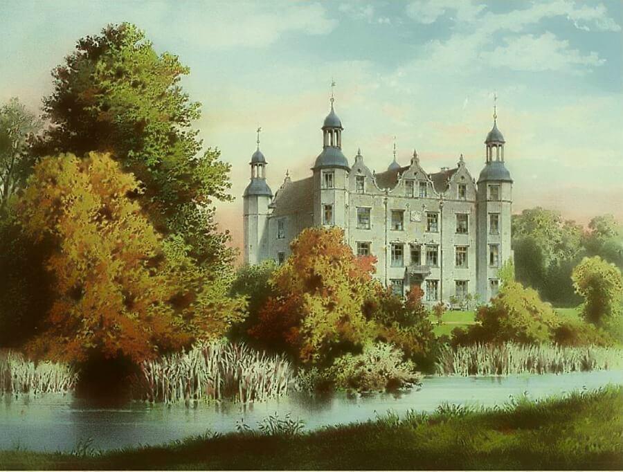 Bezoek aan Schloss Ahrensburg 1869, lithografie